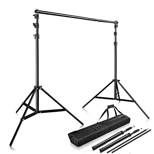 Happyjoy Photography 10Ft x 9Ft Photo Video Studio Telescopic Aluminum Alloy Adjustable Portable Background Backdrop Stand Support System Kit Tripod with Carry Bag and Cross Bar by Happyjoy