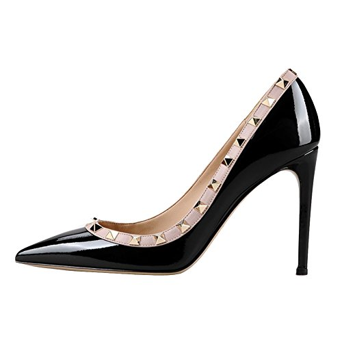 für Nieten High Schuhe Zehenspitze dünne Dress Mitte MERUMOTE Damen Sexy Heels mit Wear Daily Spitze Fersen Pumps Lack Schwarz CxFOq4w4f