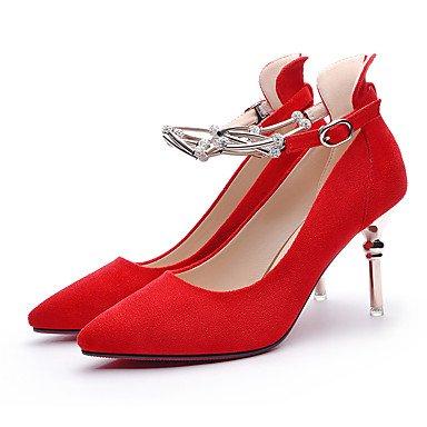 Talones de las mujeres Primavera Verano Otoño Invierno Gladiador piel oficina y carrera fiesta y noche del vestido ocasional de tacón de aguja enredaderas Negro Rojo Black
