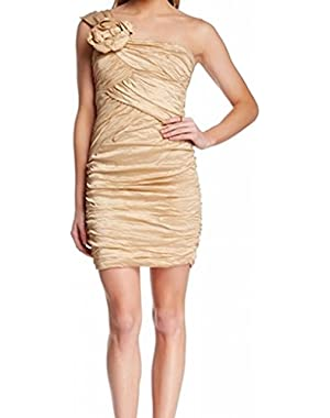 BCBGMAXAZRIA Champagne Rosette Ruched Pleated Sheath Dress Beige 4