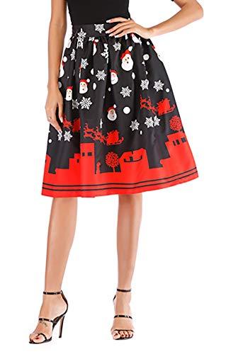 Hanlolo Ugly Christmas Midi Skirts Print Santa Claus Reindeer Pleated Flared A-Line Skirts Black -