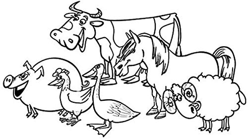 FSDS Wall Vinyl Decal A Group of Pig Hen Duck Cow Horse Sheep Kids Sticker Animals Bedroom Decoration Hollow Out Decal