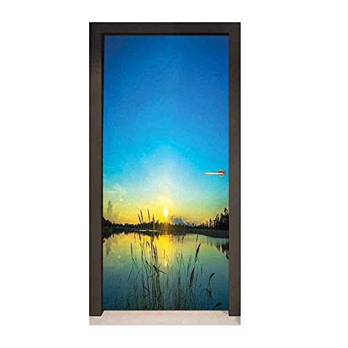 Lake Self Adhesive Wall Sticker Sun Rising in Blue Sky Quiet Outdoors with Reed Bed Serenity in Country Decor Door Mural Blue Turquoise Yellow,W23.6xH78.7 (Country Reeds Furniture)