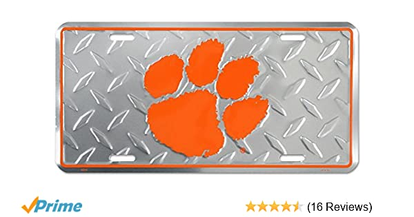 Clemson Diamond Plate Pattern Clemson Tigers License Plate Car Tag