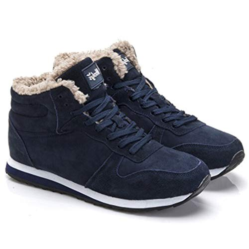 Plus Size Winter Men Sneakers Winter Warm Plush MenUnisex Sport Shoes for Men Blue Black Dark Blue 8.5
