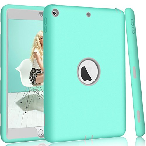 iPad 9.7 2018/2017 Case, NOKEA Heavy Duty Rugged Shock-Absorption High Impact Resistant Hybrid Dual Layer Silicone+Hard PC Bumper Protective Case for iPad A1893/A1954/A1822/A1823 (Aqua Grey) ()