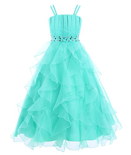 iiniim Girl's Organza Princess Party Pageant Wedding Prom Gowns Flower Girl Dress