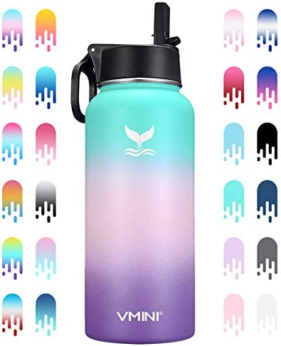 Vmini Water Bottle with New Wide Handle Straw Lid, Wide Mouth Vacuum Insulated 18/8 Stainless Steel, 32 oz, Gradient Mint + Pink + Purple
