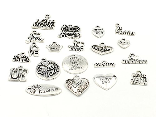 Kinteshun Alloy Multistyle Loving Heart Blessing Quote Message Charm Pendant for DIY Jewelry Making Accessaries(20pcs,Antique Silver Tone)