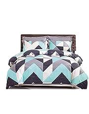 Chevron Aqua Quilt Cover Set, 100% Pure Cotton, Modern Geometric Zig zag Patterns, 3 Piece Duvet Cover Set Includes Two Pillowcases (King/Queen Size Options)