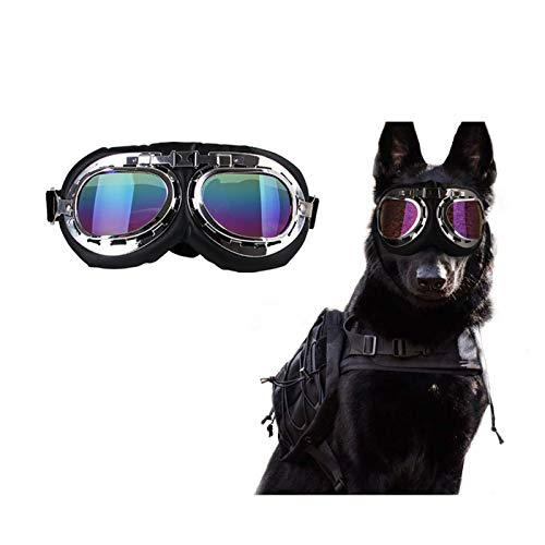 BetterJonny Dog Sunglasses, Adjustable Dog Goggles Aluminum Alloy Frame UV Block Anti-Fog Pet...