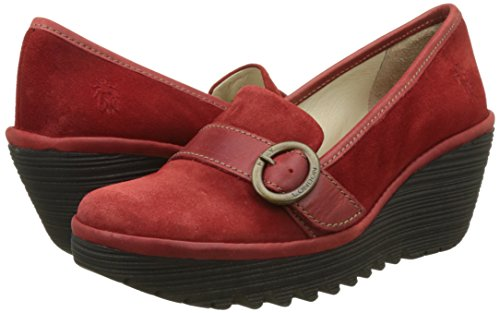 Donna Fly Nero Mocassini Rosso London red Yond771fly qw0wzt