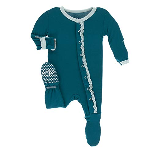 - Kickee Pants Little Girls Solid Muffin Ruffle Footie with Snaps - Heritage Blue with Spring Sky, 0-3 Months