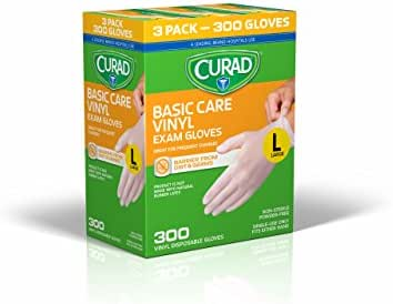 Disposable Gloves: Curad Basic Care Vinyl Exam Gloves