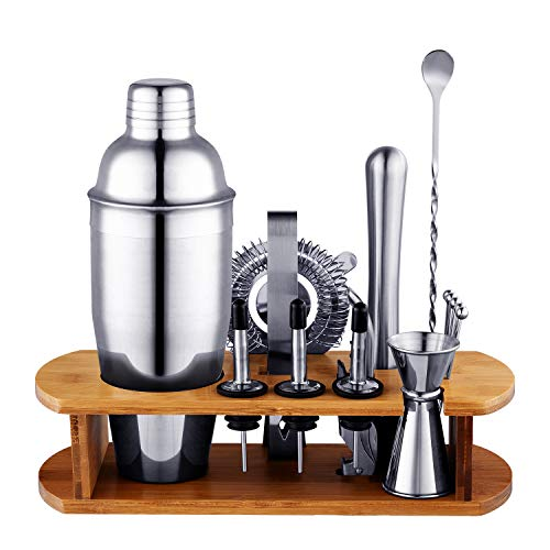 Bournis Bar Tool Set with Stand, 16 Pcs 750mL Stainless Steel Cocktail Bartender Shaker Set with Stand, Bar Shaker Strainer Jigger Muddler Wine Stopper Pourer Kit