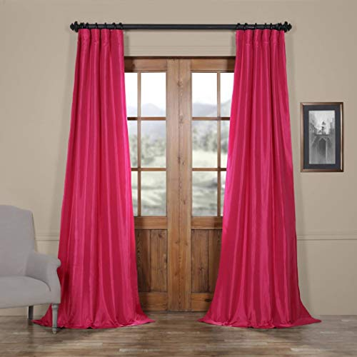 DH 1 Piece Girls Colors Fuchsia Rose Ruched Header Faux Silk Taffeta Window Curtain 120 Inches Single Panel, Hot Pink Fabrics Solid Color Window Treatment Lined Elegance Rod Pocket, Silk Polyester (Taffeta Curtains Silk Pink)