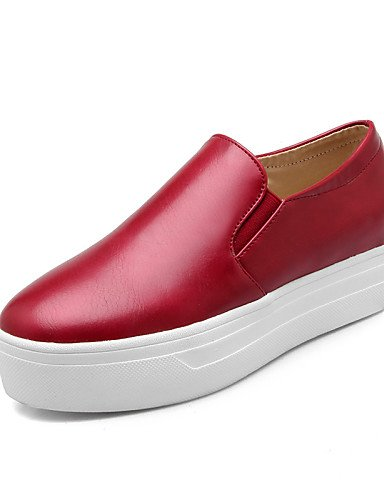 ZQ Zapatos de mujer - Plataforma - Plataforma / Creepers / Punta Redonda - Mocasines - Exterior / Vestido / Casual - Semicuero -Negro / Rojo , black-us6 / eu36 / uk4 / cn36 , black-us6 / eu36 / uk4 / red-us8 / eu39 / uk6 / cn39