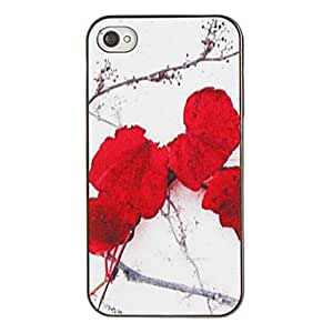 Buy Red Flower on the Snow Pattern PC Hard Case with Black Frame for iPhone 4/4S