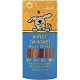 Honey I'm Home All Natural, Honey Coated Buffalo 6 Inch Bully Sticks for Dogs, 5 Pieces, 3.15 Ounces