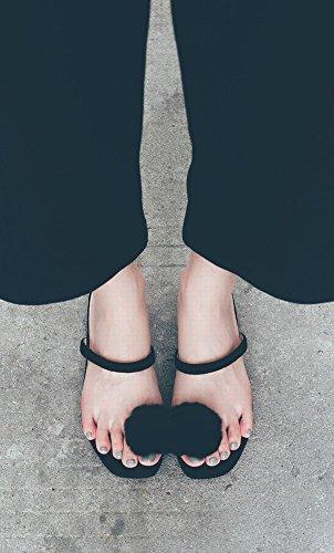 DHG del Moda Mujer de Salvaje de Dedo Negro de Sandalias Femenino Zapatillas Perezoso Vestir Pie 38 rqwgArf