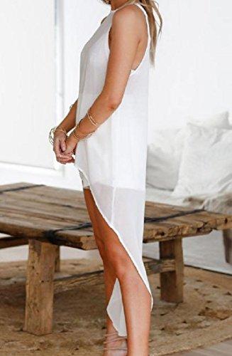 Coolred Femmes Avalent La Queue En Mousseline De Soie Ras Du Cou Couleur Pure Mi Robe Blanche