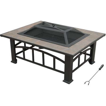 Axxonn Rectangular Tile Top Outdoor Wood Burning Fire Pit/Table On Sale, Brownish Bronze