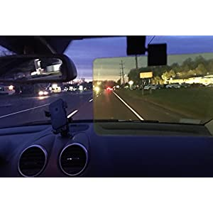 "HD Night Vision by Glare Guard | Anti-Glare Polarized Driving Visor for Headlight Glare | Universal 14"" x 3.25"" fits Cars, Truck's SUV's & RV's 