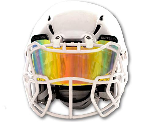 EliteTek Color Football & Lacrosse Eye-Shield Facemask Visor - Fits Youth & Adult Helmets (Clear Orange Colored)