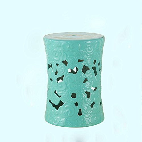 ch-AIR Stool Hollow Green Ceramic Drum Stool Craft Porcelain Vanity Dressing Stool Shoe Bench Home Decoration Hand-Painted Table Pier Leisure Stool Sofa Foot 32X45CM 0612A (Color : -