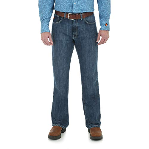 Wrangler Riggs Workwear Men's FR Flame Resistant 20X Vintage Boot Cut Jean, Midstone, 34x32