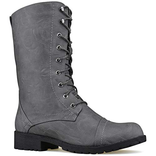 Premier Standard Women's Military Ankle Lace up Buckle Combat Boots Mid Knee High Exclusive Booties Grey Pu L11*