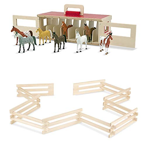 Melissa & Doug Bundle Includes 2 Items Take-Along Show-Horse Stable Play Set with Wooden Stable Box and 8 Toy Horses Wooden Horse Corral Fence - 11 Folding Sections