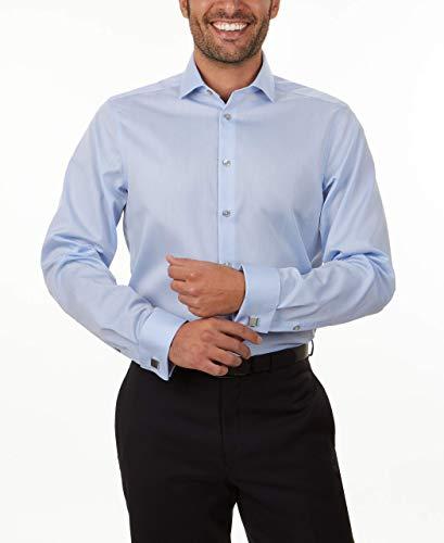 Calvin Klein Men's Dress Shirt Non Iron Solid, Blue, 15.5