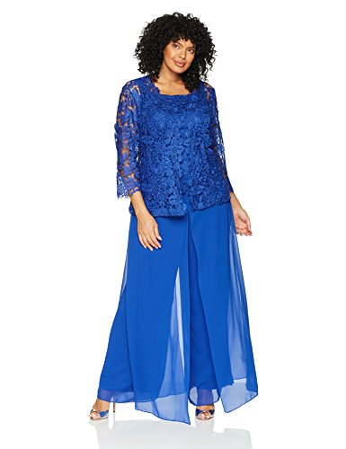 Emma Street Women's Plus Size Lace Jacket Camisold and Chiffon Pant Set, Cobalt, 14w