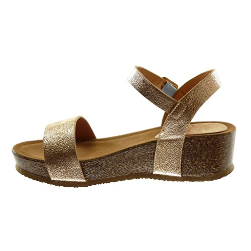 Angkorly Damen Schuhe Sandalen Mule - Knöchelriemen - Plateauschuhe - Glänzende - genarbtem - Kork Keilabsatz 5 cm Champagner