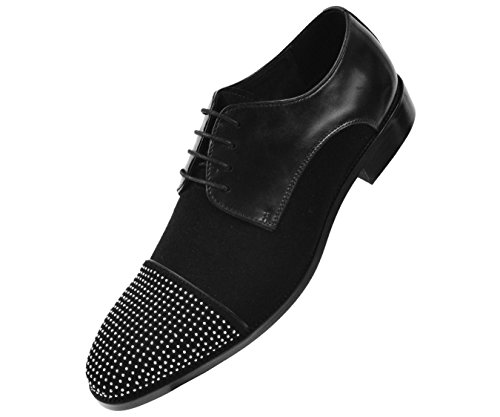 uine Leather/Suede Silver Studded Cap Toe Lace Up Oxford Dress Shoe, Style AG9393 (Studded Toe Cap)