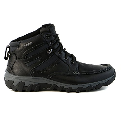Eyelet Black Leather (Rockport Men's Cold Springs Plus Mocc Toe Boot - High 7 Eyelets Black Leather 9 M (D)-9  M)