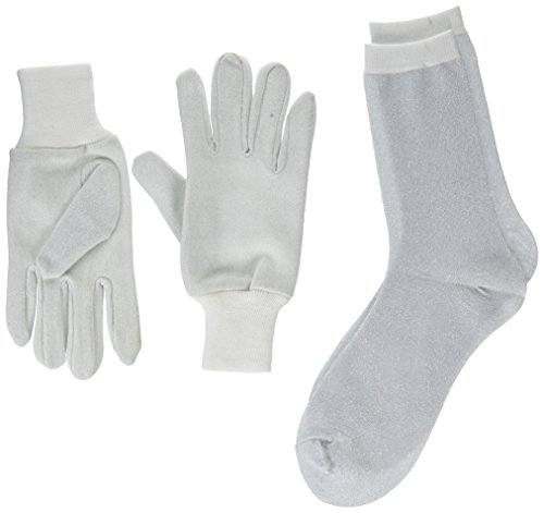 PU Health Women's Thermal Sock's and Glove's Liner Metallic Set, Silver, 1 Pounds