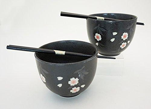 Blossom Bowl Set (Japanese Dinnerware Ceramic Ramen Udon Noodle Bowl Set of 2 with Bamboo Chopsticks Gift Pack Good Quality (Sakura Cherry Blossom))