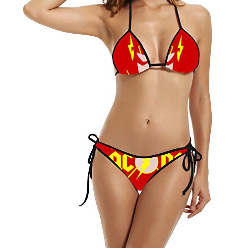HAOYANG Women's Super Hero Music Back Ac Triangle Top Bikini Swimsuit