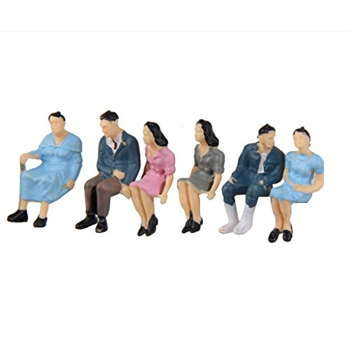 50pcs O Gauge Models Railway Painted Train Figures Seated People Scale 1:42