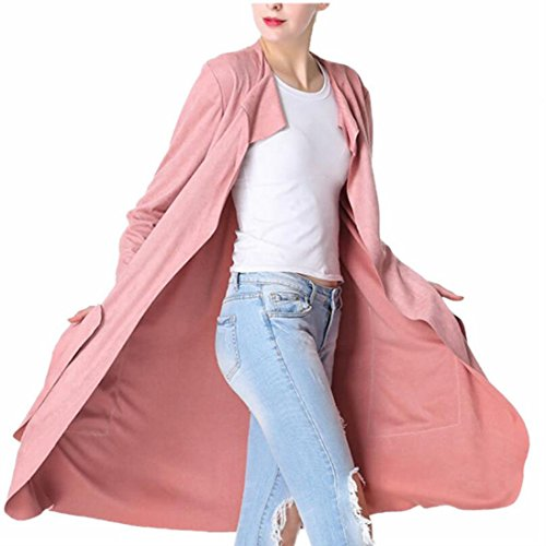 Pink Down Coat (Jaycargogo Women Stylish Turn-down Collar Thin Faux Suede Dust Coat Pink S)