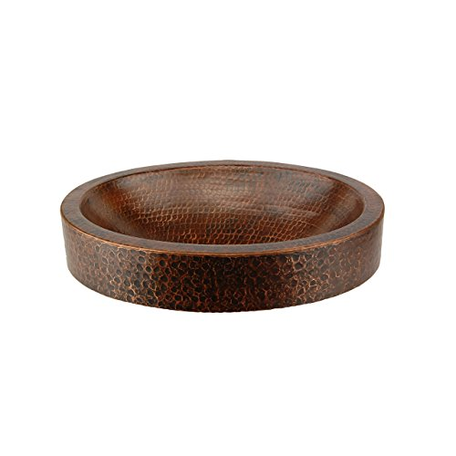 Premier Copper Products VO17SKDB Oval Skirted Vessel Hammered Copper Sink, Oil Rubbed Bronze ()