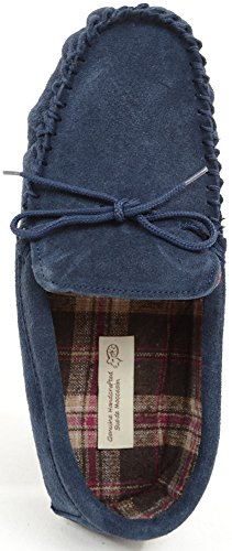 SNUGRUGS Slipper Mens Suede Cotton Navy With Moccasin Lined Sole Rubber pWpO1r6