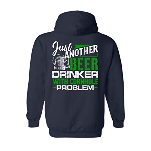 Eleven Garlic Beer Drinker with Cornhole Problem Long Hoodie, Hooded Sweatshirt, Hoodies Navy,S