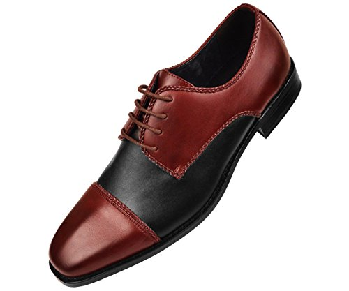 Amali Mens Two Tone Smooth Cap Toe Oxford Dress Shoe braiding Detail Style Palmero Burgundy 4CV3kJsTFb
