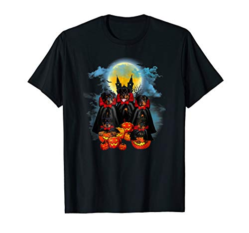 Funny Rottweiler Vampire Pumpkin Halloween T-Shirt -