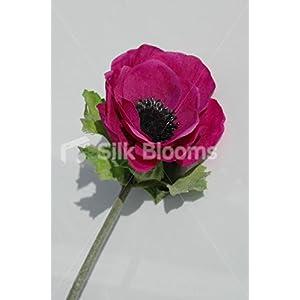 Single Artificial Magenta Anemone, Silk Magenta Anemone Poppy 28