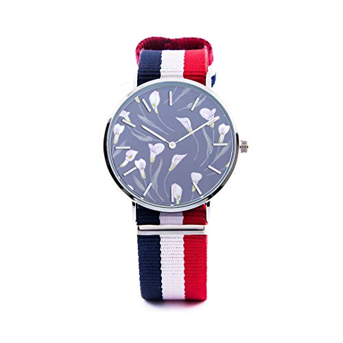 (Unisex Fashion Watch Calla White Floral Hand Drawn Romatic Print Dial Quartz Stainless Steel Wrist Watch with Nylon NATO Strap Watchband for Women Men 36mm Casual Watch)