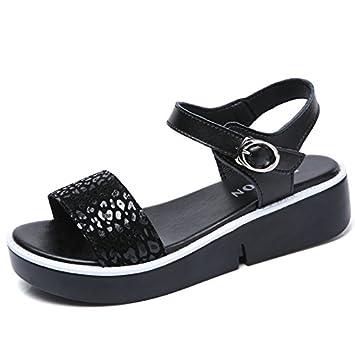 YUCH Damen Sandalen mit Freizeitaktivitäten Dick Unten Schüler Damenschuhe Im Sommer, Schwarz, 36,